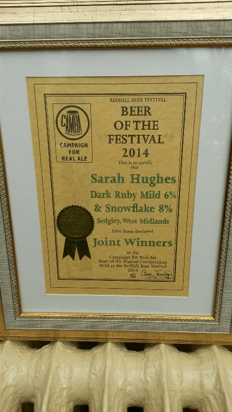 Redhill Beer of Festival 2014 Certificate.