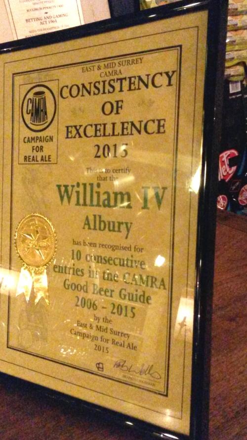William IV, Albury, 10 years GBG